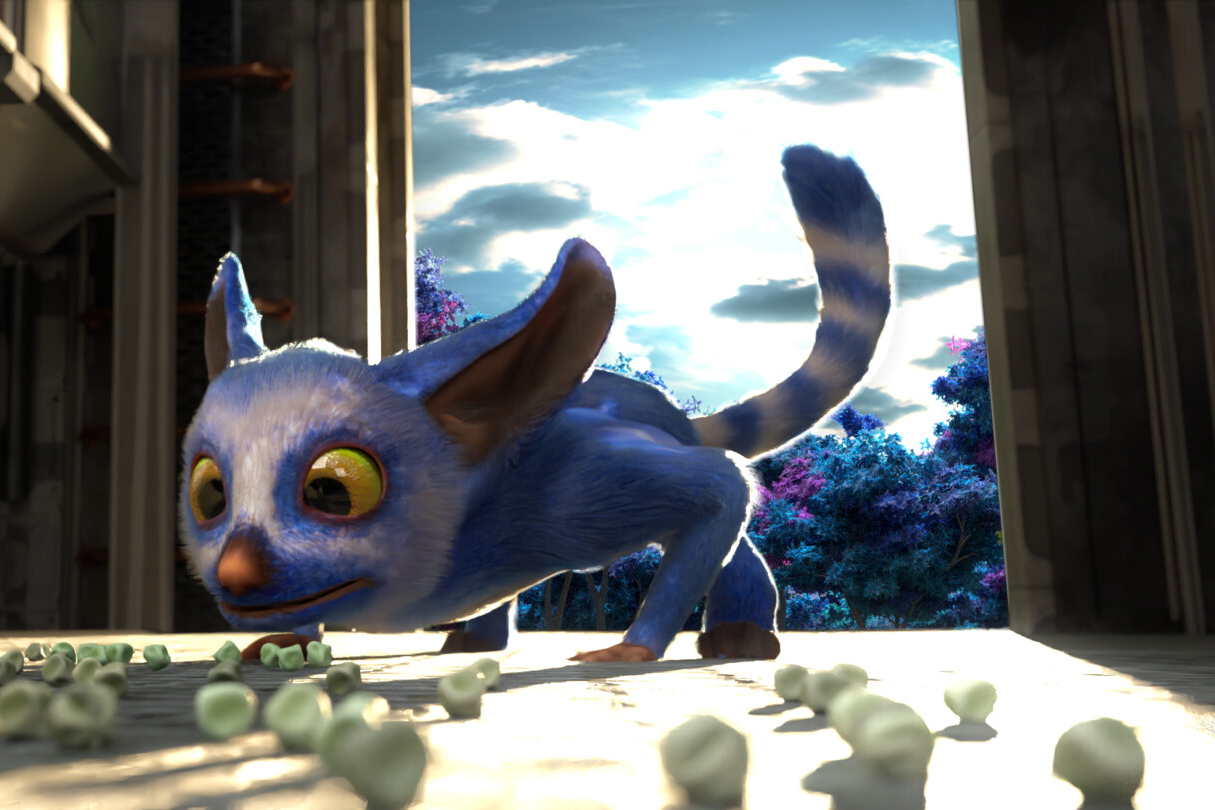 A lemur-looking character in a 3D-animated scene.