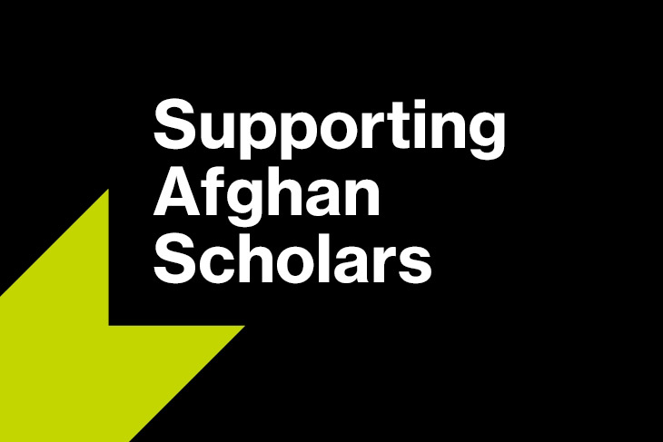graphic reads: Supporting Afghan Scholars.