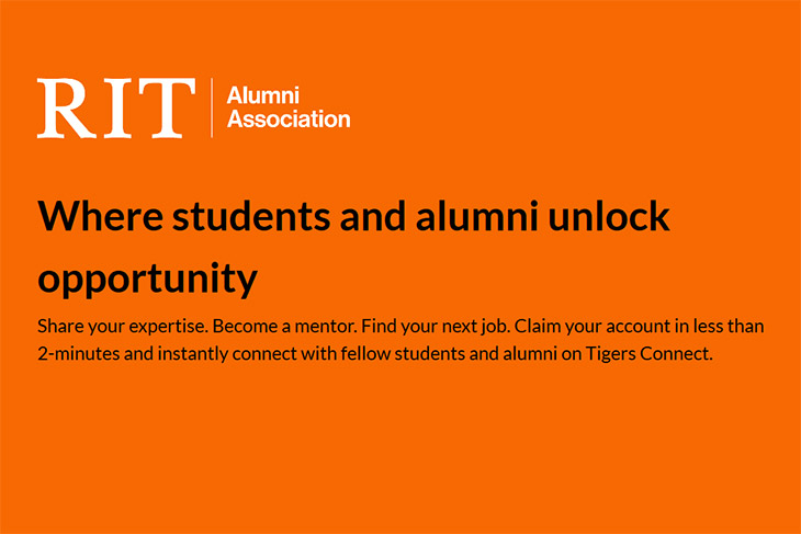 screenshot from Tigers Connect platform reads: Where students and alumni unlock opportunity.