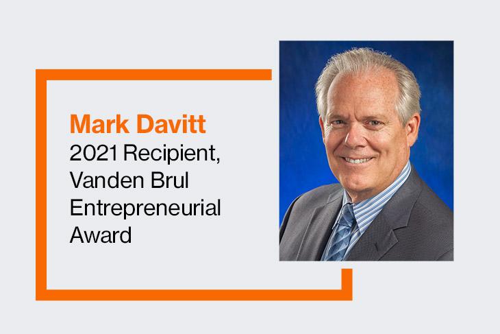 graphic with Mark Davitt, 2021 recipient of the Vanden Brul Entrepreneurial Award.