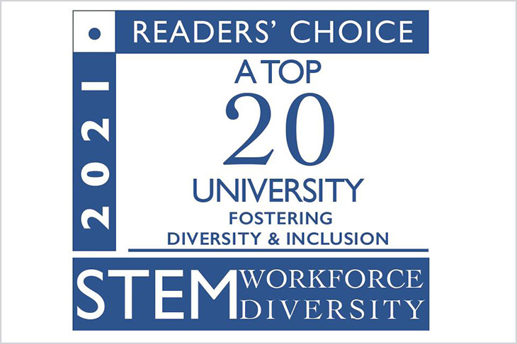 graphic for 2021 STEM workplace diversity reader's choice: a top 20 university fostering diversity and inclusion.