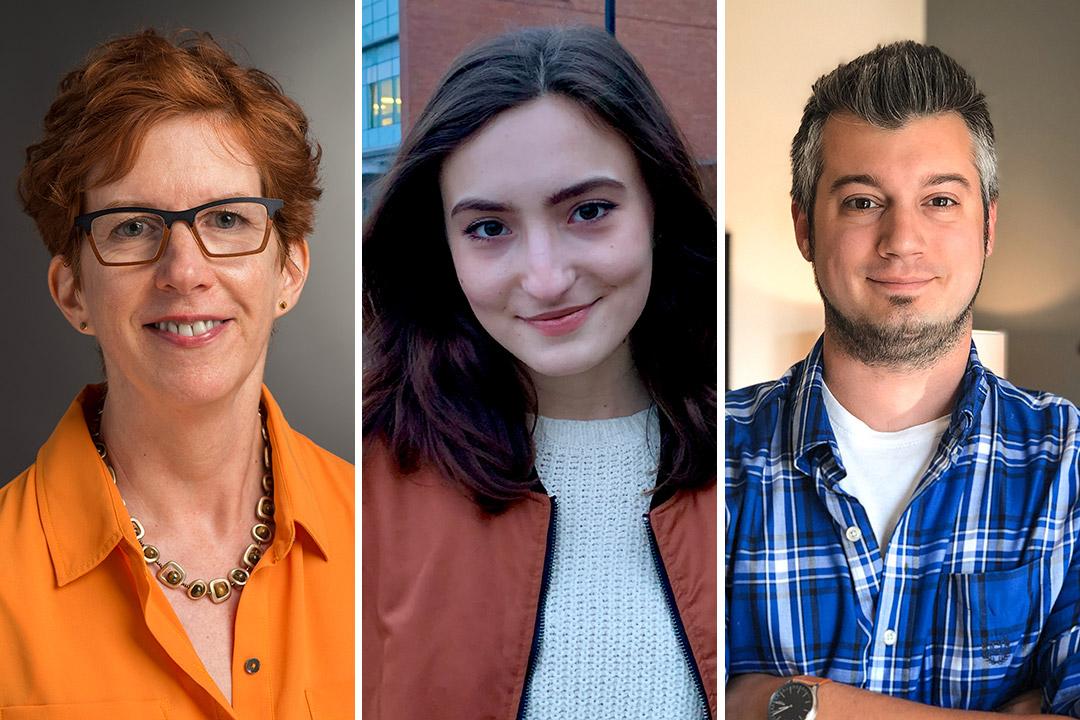 side-by-side portraits of Professor Susan Lakin, student Gia Caruso, and alumnus Matt Olpinski.