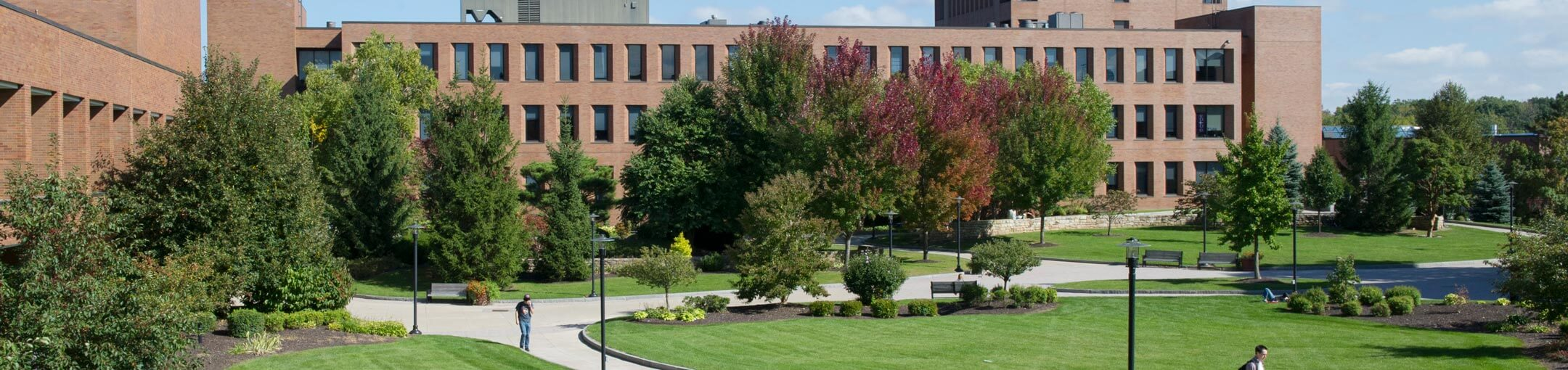 View of RIT campus with several trees and bushes in front of a brick building.