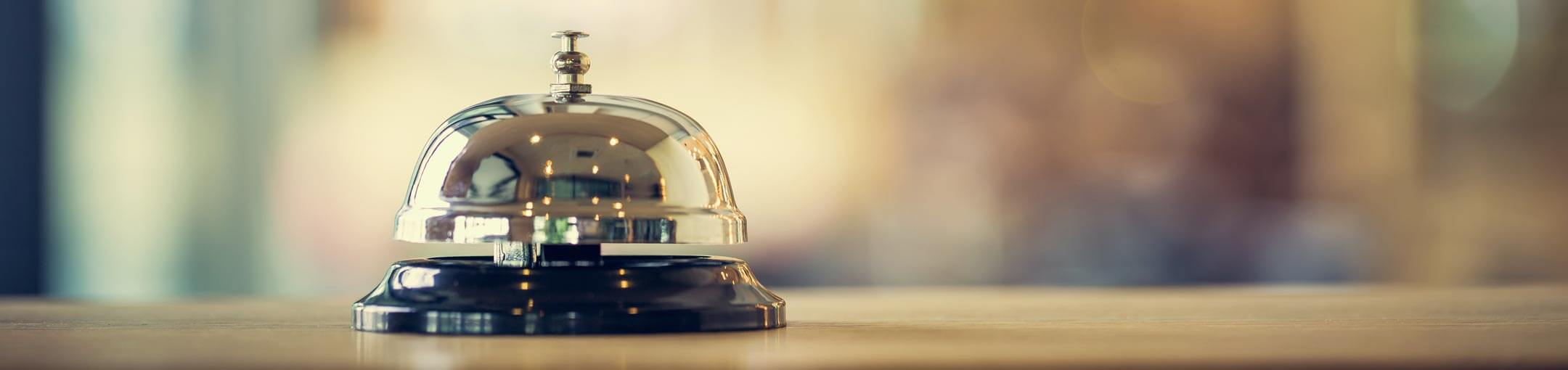 Close up of hotel call bell.