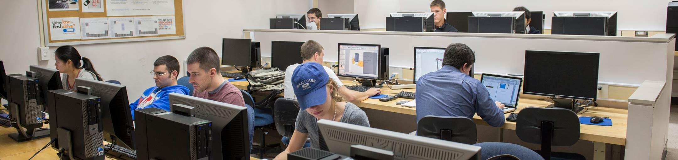 Students working in a computer lab.