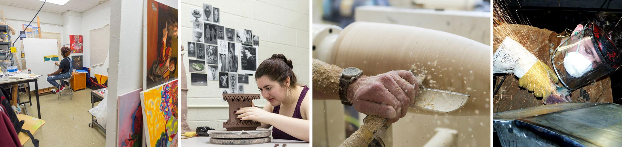 A collage of four images showing students painting, working with clay, turning a piece of wood on a lathe, and an angle grinder cleaning up a piece of metal (from left to right).
