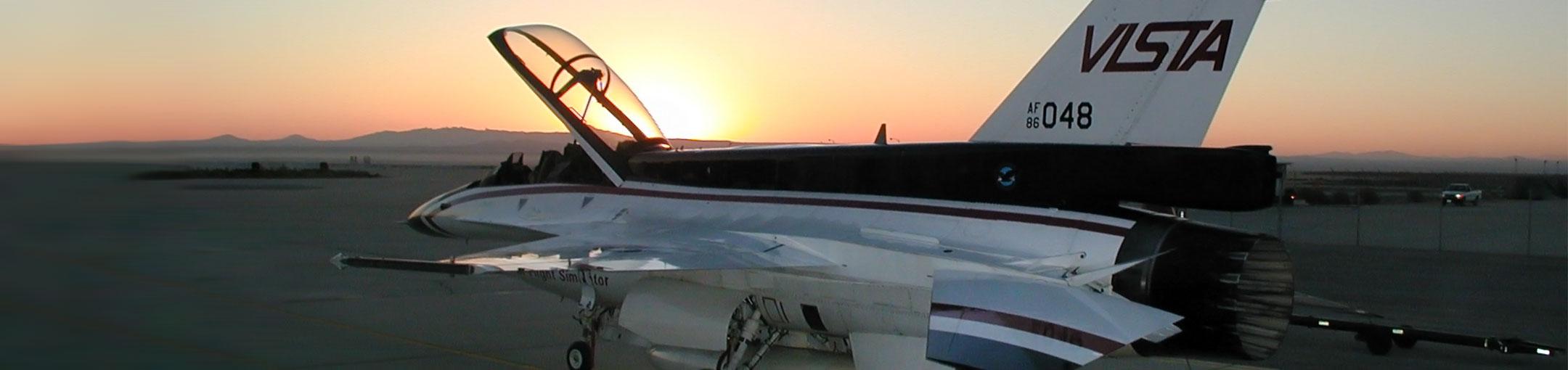 An flight simulator airplane at dusk.