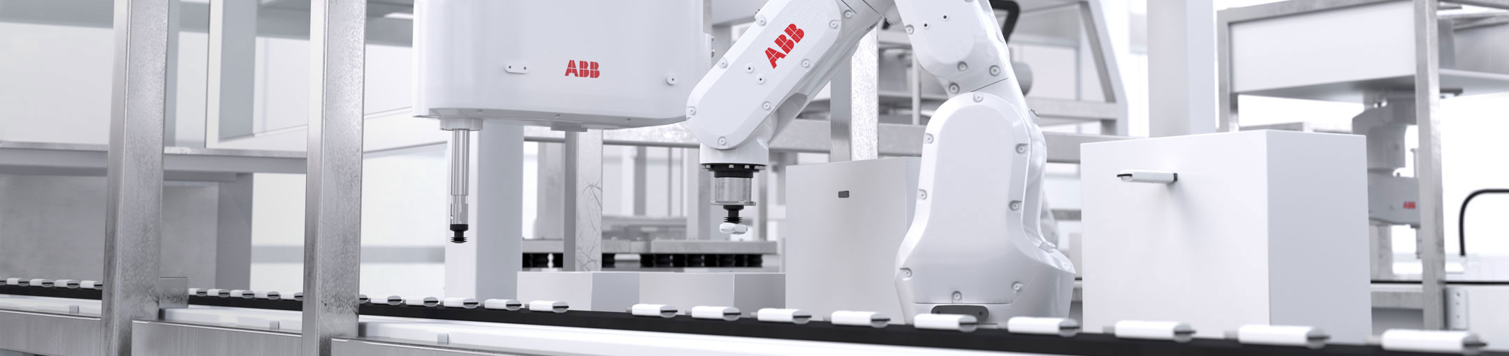 A mechanical arm with a red ABB logo appears to be placing items on a conveyor belt.