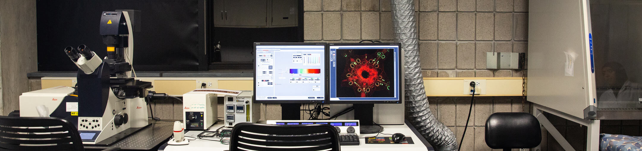 A workstation in a lab with a microscope on the left, and a computer with a monitor showing a magnified image of what is under the microscope in the middle.
