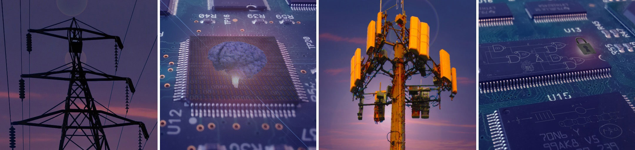 A collage of images representing electrical and computer engineering, including circuitboards, power lines, and antennas.