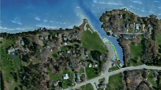 map of Bear Creek Harbor off Lake Ontario with green points showing survey ground truth measurements