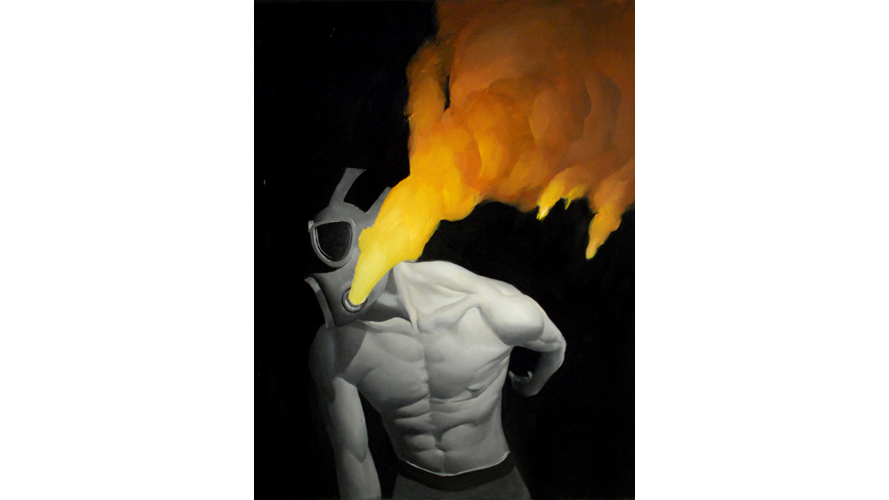 A black-and-white illustration with fire mixed in