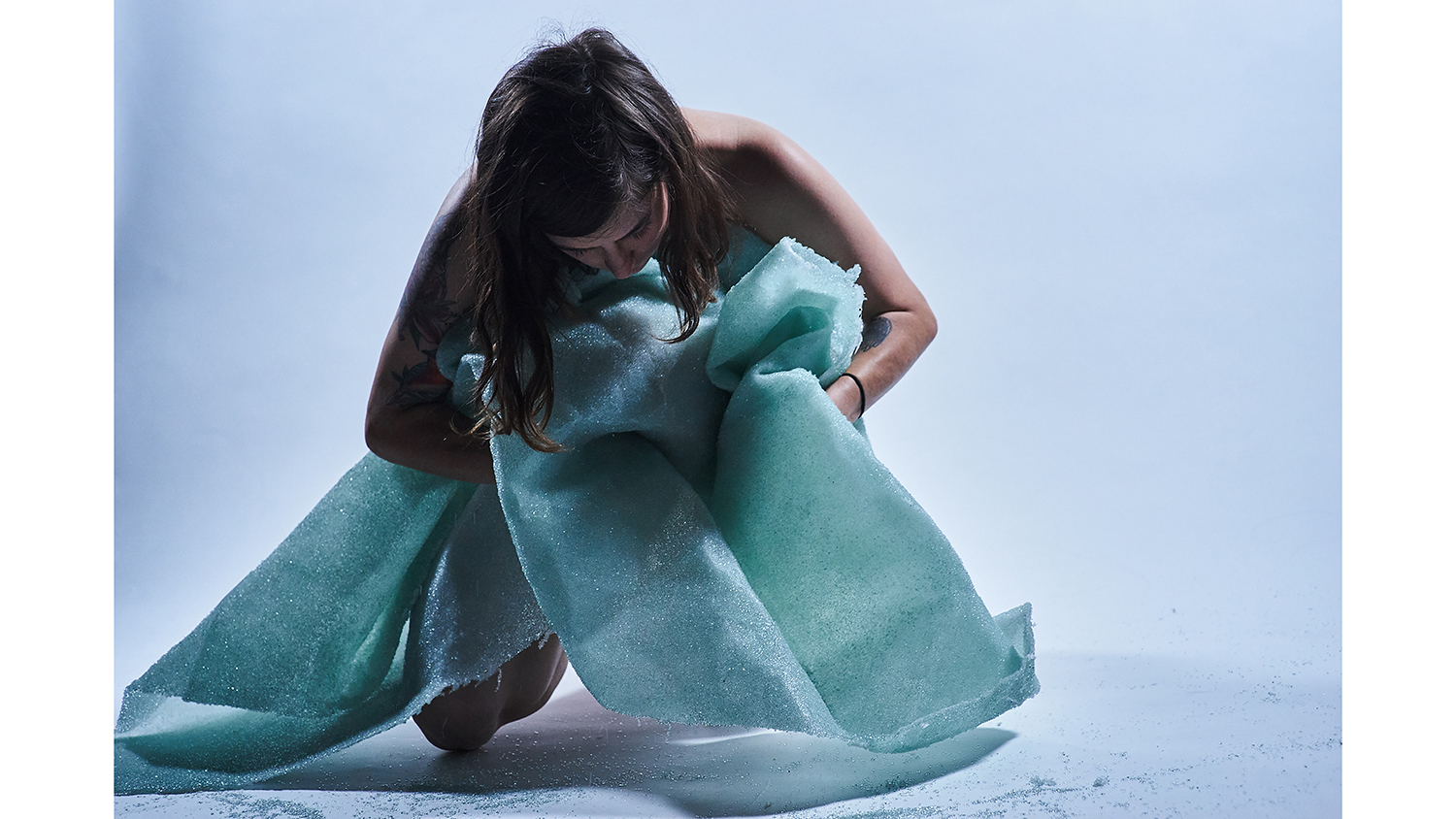 A glass blanket by Gracia Nash, who uses glass as performance art.