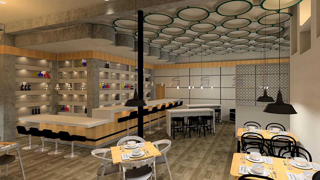 A rendering of a restaurant design.