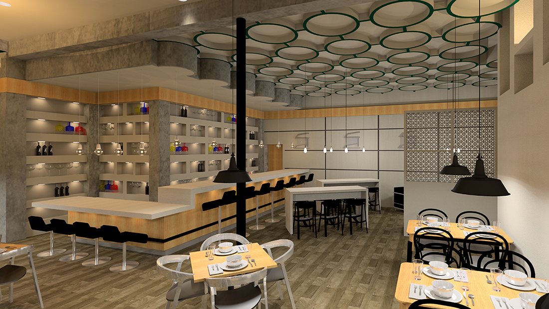 A rendering of a restaurant design.