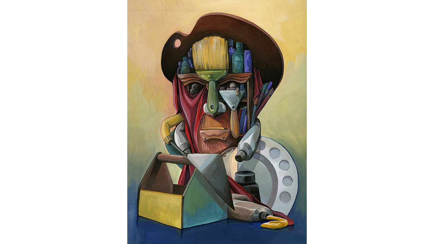 An illustration of Pablo Picasso made out of art supplies