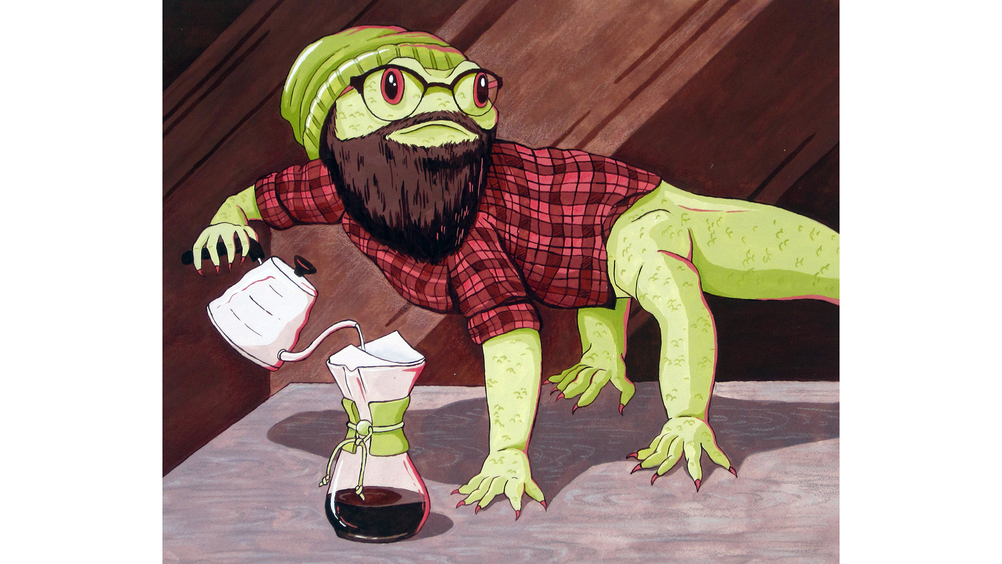 An illustration of a lizard with a beard pouring a drink