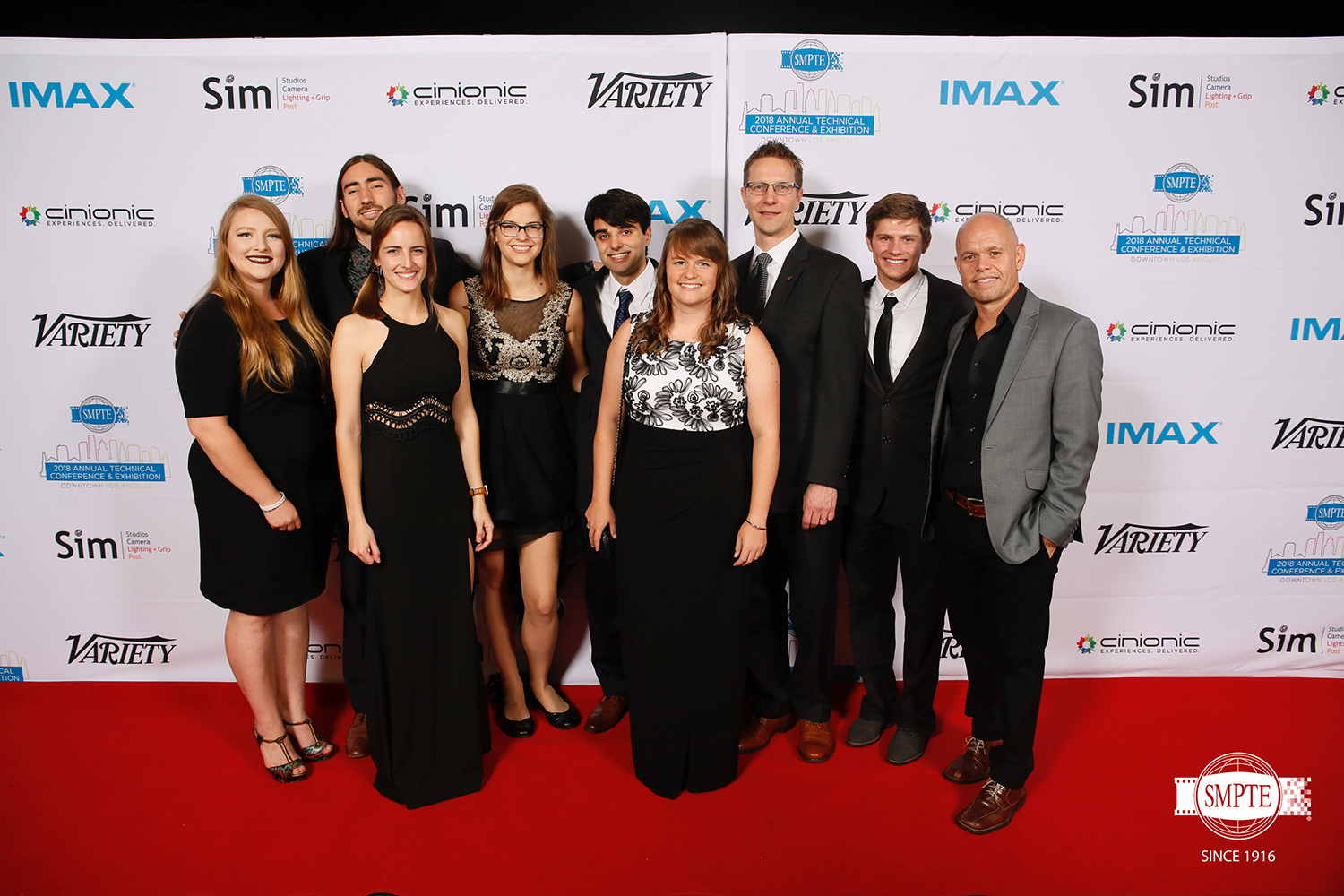 RIT Motion Picture Science students, alumni and faculty at the 2018 SMPTE awards.