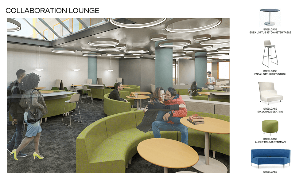 Rendering of the interior of a collaboration lounge for an urban campus