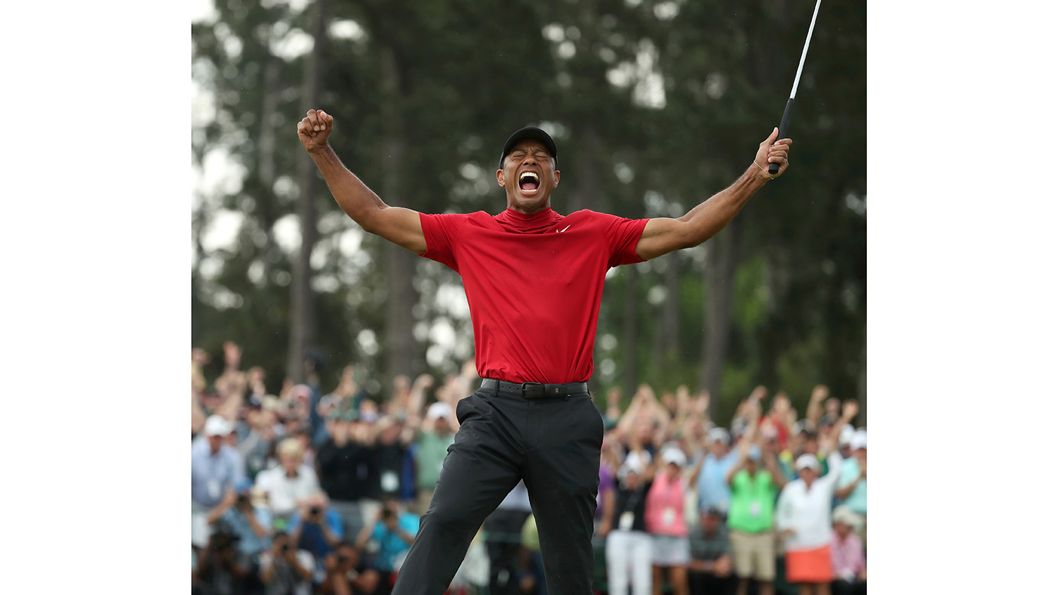 Tiger Woods after winning the 2019 Masters — an example of masterful golf photography.