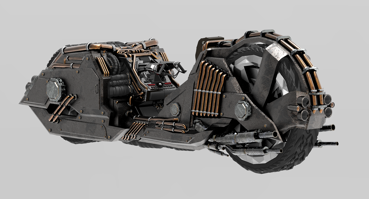 A rendering of a motorcycle