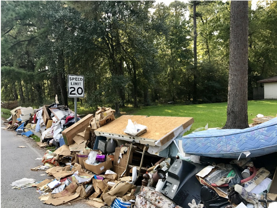 Items on side of road after a disaster