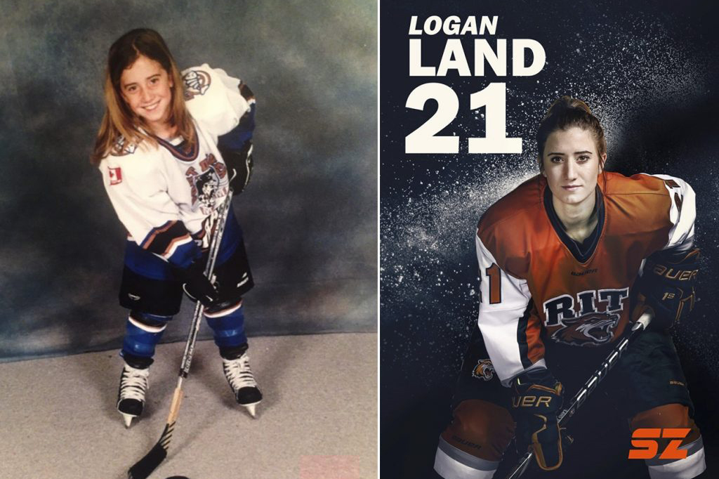 A split image of Logan Land's hockey photo now and when she was young.