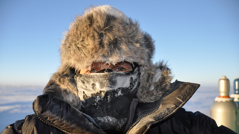 female wearing winter clothing in South Pole