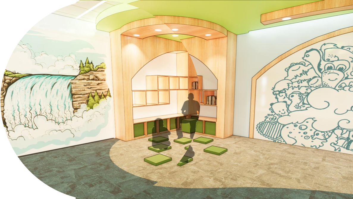 A rendering of a space for children's story time.