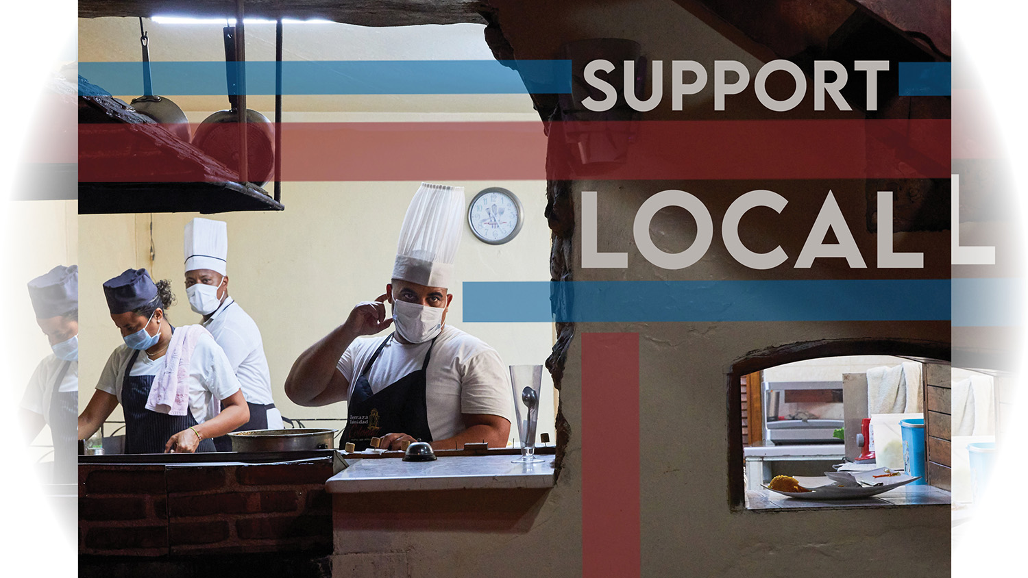 A poster promoting supporting local businesses with a photo of restaurant workers.