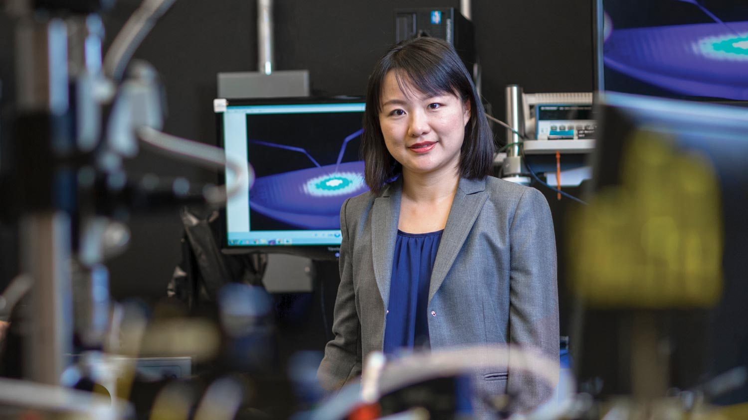 Jing Zhang is pictured in her nanotech research lab.