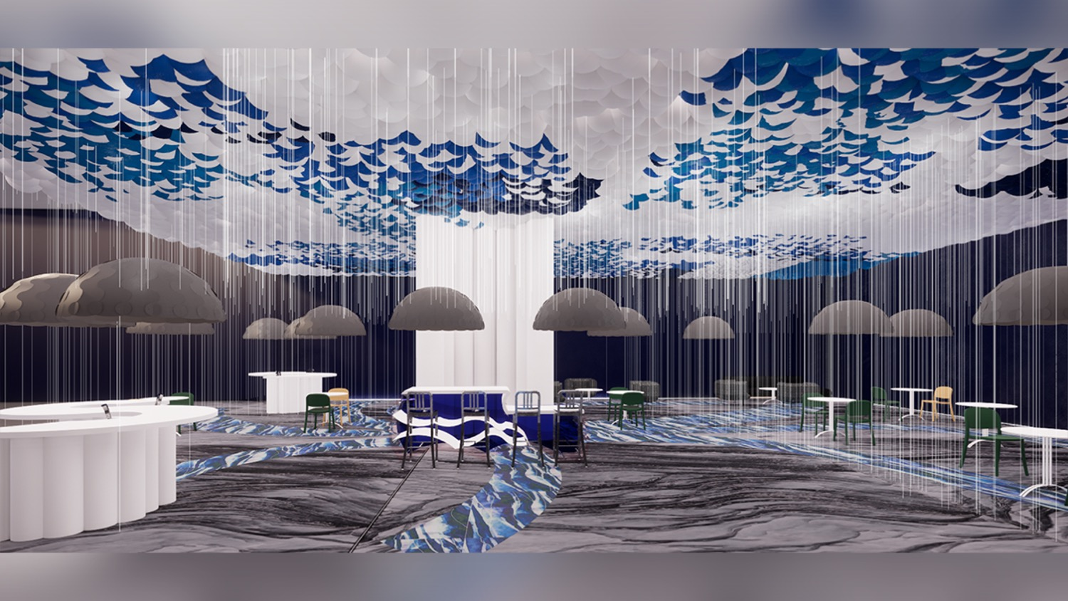 A rendering of a bar and cafe that gives the appearance it's raining.