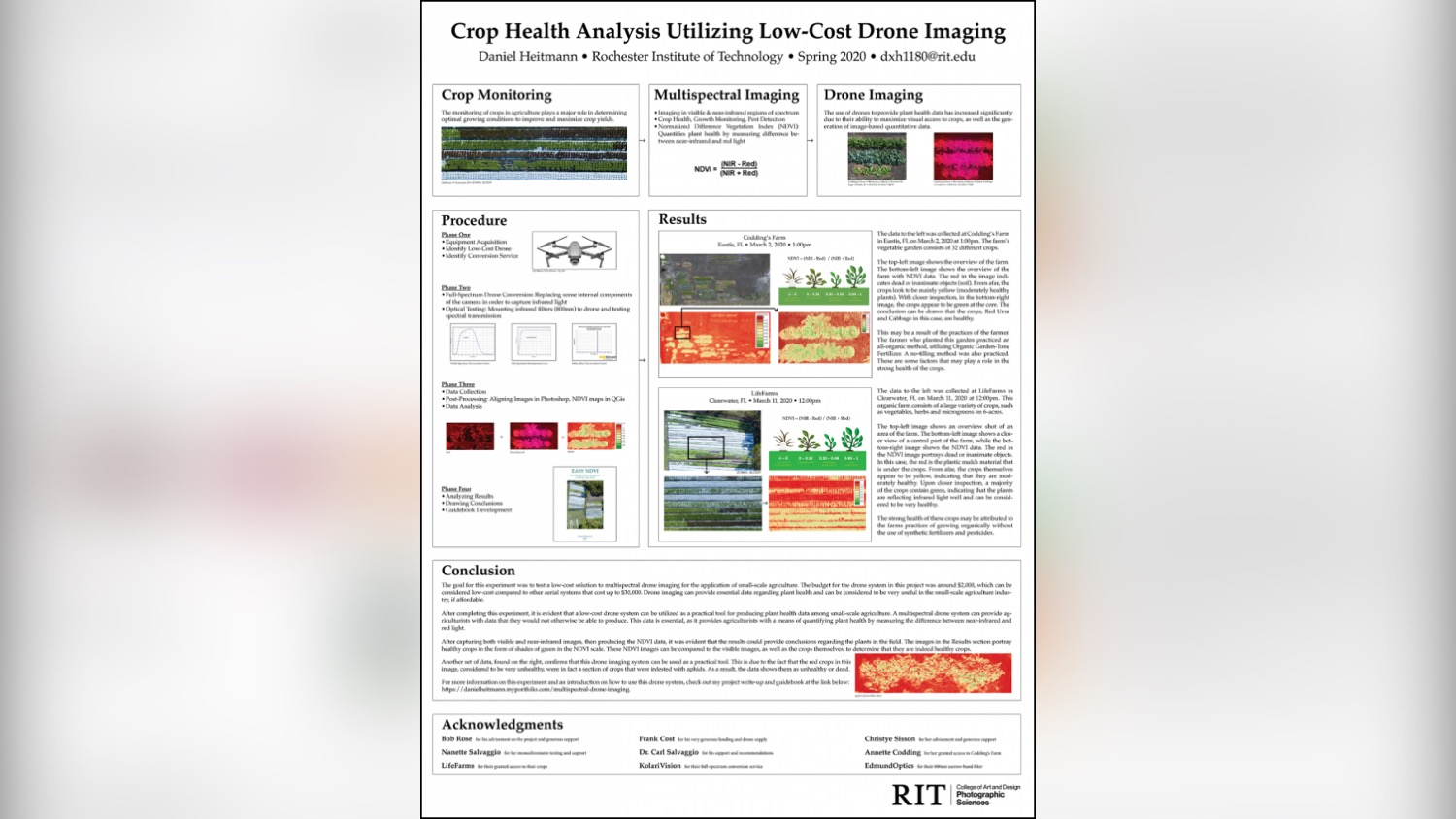 A poster describing crop health analysis using low-cost drone imaging.