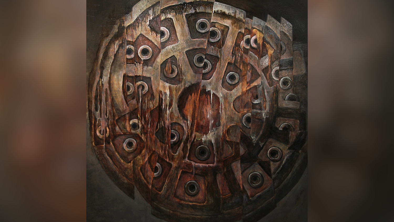 An oil painting of a sewer cover.