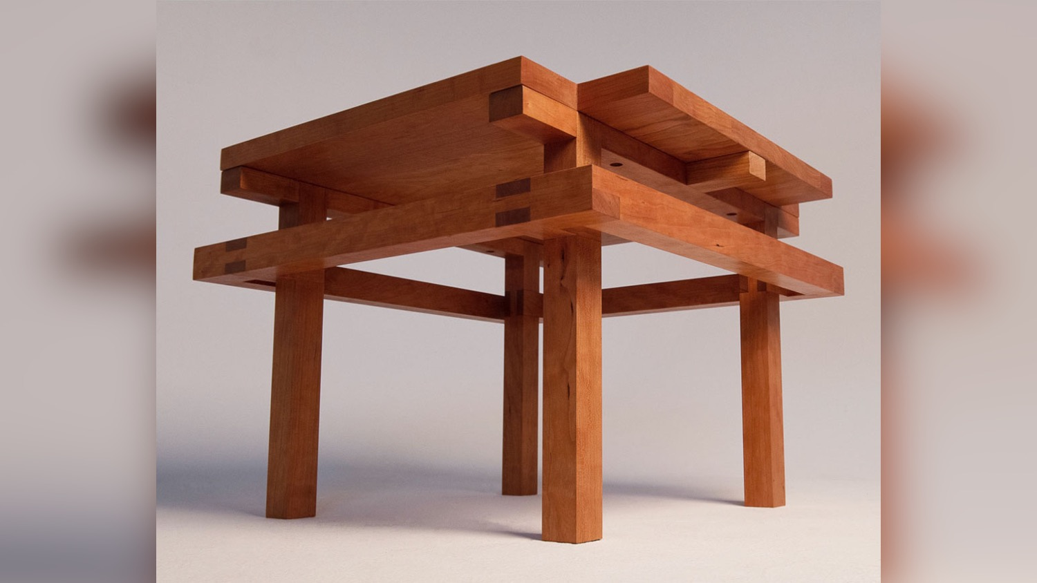 A photo of a table from the floor perspective.