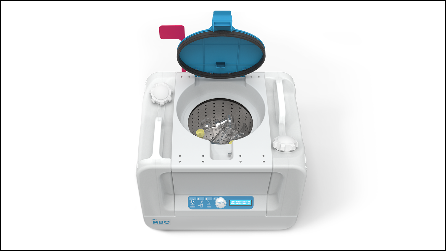 an overhead photo of the Automated Breast Pump Cleaner.