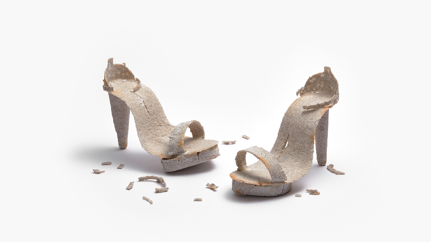 A pair of glass heels.