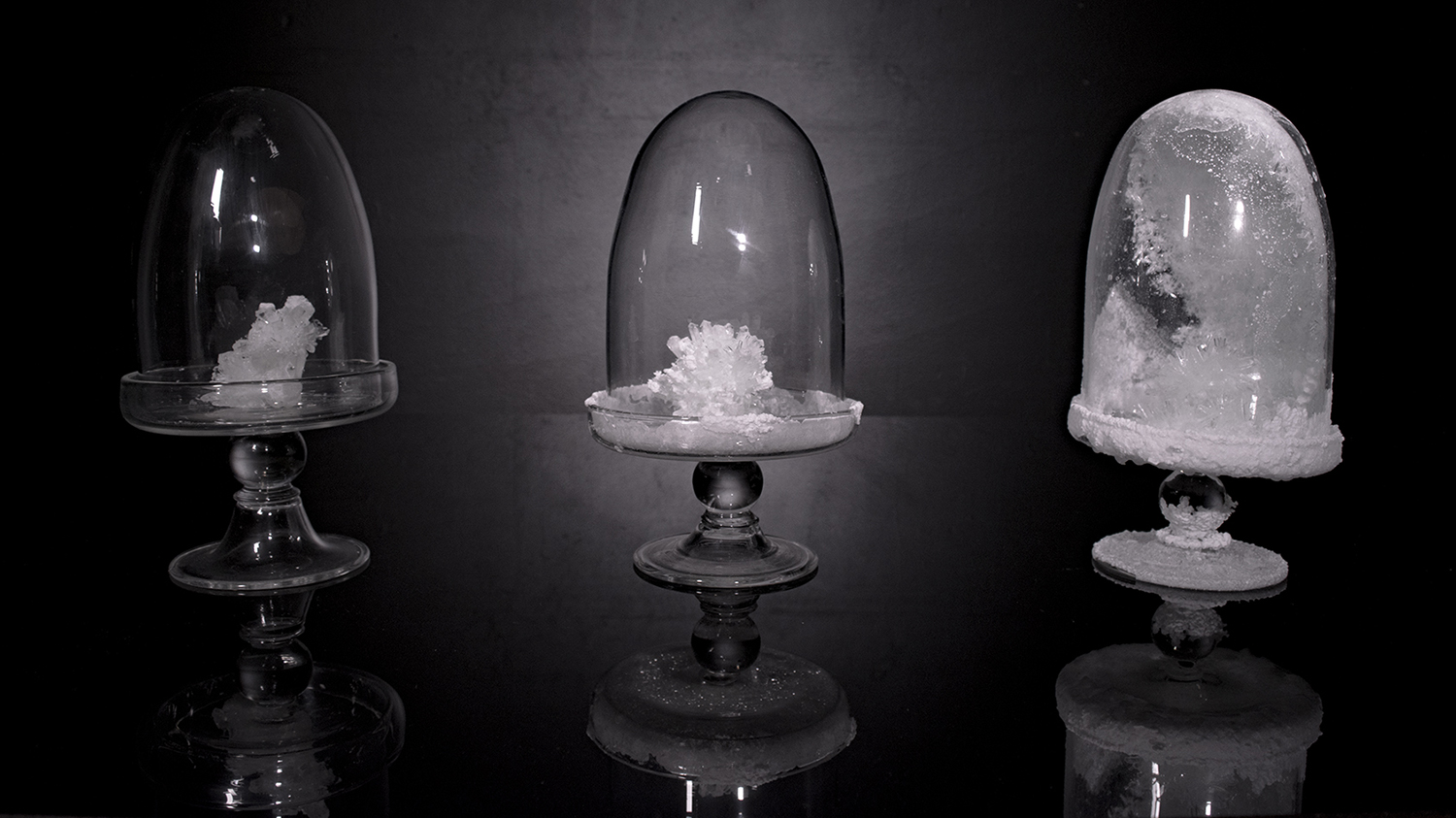 A set of three glass vessels with crystal growing inside.