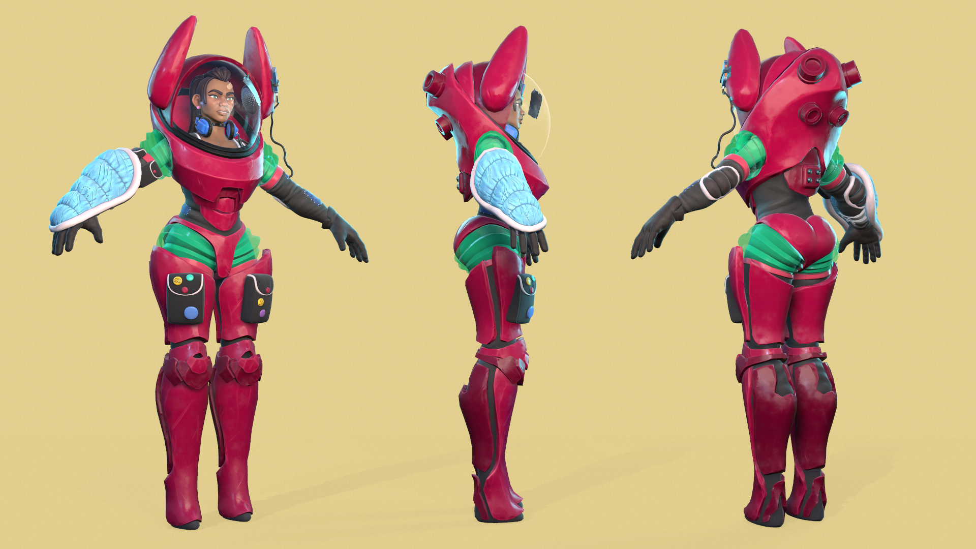 A character seen from three different angles wearing a futuristic spacesuit.